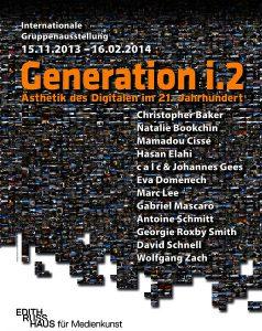 Videowand mit 10000 Bildern, orange Schrift: Generation i.2