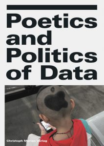 Head of young boy with shaped hear but visible apple logo and text: Poetics and Politics of Data