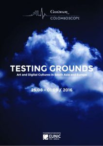 White cloud on black sky, text: TESTING GROUNDS