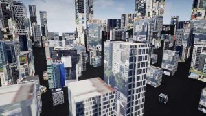 Bird view of Melborne the skyline in VR