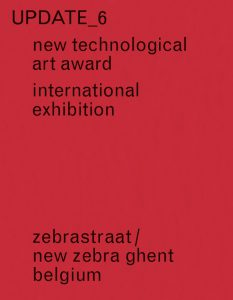 Red book cover, black letters: Update 6 – New Technological Art Award. International Exhibition